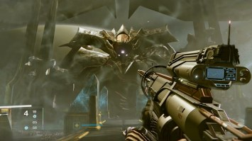 Fighting Oryx in the King's Fall Raid on Destiny.